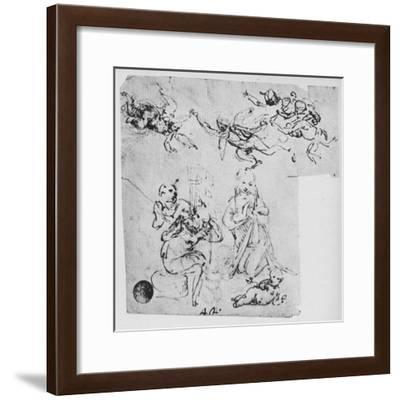 'Madonna Adoring the Infant Christ and Other Figures', c1480 (1945)-Leonardo da Vinci-Framed Giclee Print