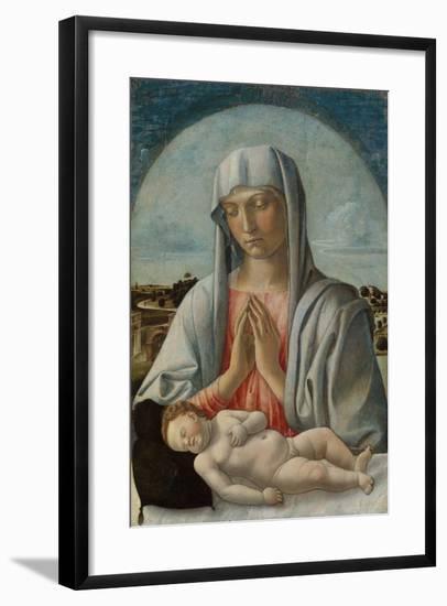 Madonna Adoring the Sleeping Child, c.1460-Giovanni Bellini-Framed Giclee Print