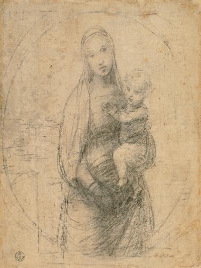 Madonna and Child at Two Thirds Figure-Sanzio Raffaello-Giclee Print