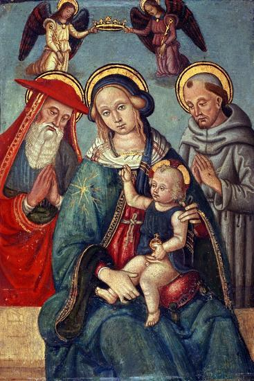 Madonna and Child Being Crowned by Two Angels, with St. Jerome and St. Francis, C.1500--Giclee Print