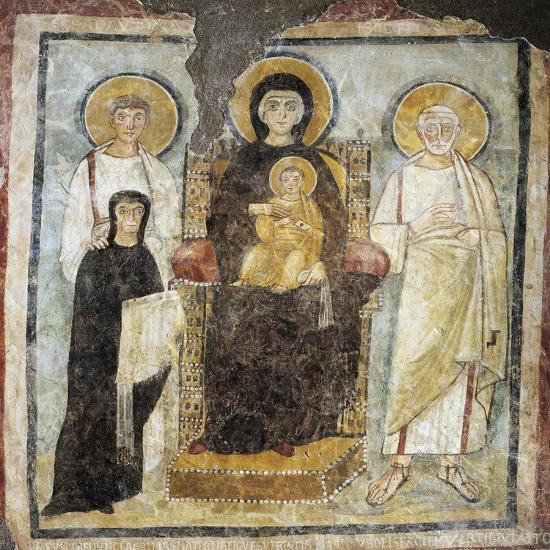 Madonna and Child Between Saints Felix and Adautto and Donor Turtura--Giclee Print