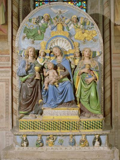 Madonna and Child Enthroned, the Medici Chapel Altarpiece by Andrea Della Robbia--Giclee Print