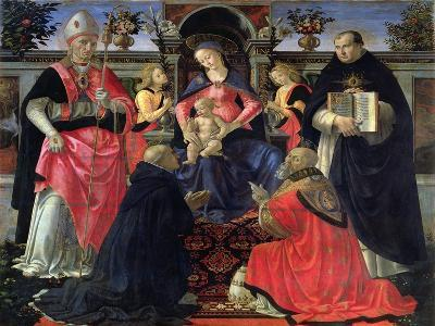 Madonna and Child Enthroned with St. Dionysius, Aeropagita, Domenic, Clement and Aquinas, c.1483-Domenico Ghirlandaio-Giclee Print