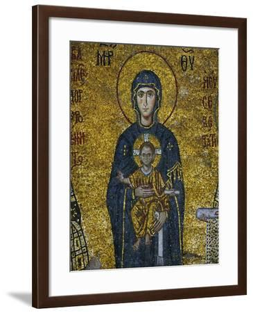 Madonna and Child, from the Votive Mosaic in the South Gallery, Byzantine, 12th Century--Framed Giclee Print