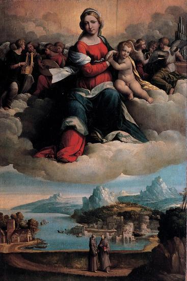 Madonna and Child in Glory with the Saints Anthony of Padua and Francis, 1530-Benvenuto Tisi Da Garofalo-Giclee Print