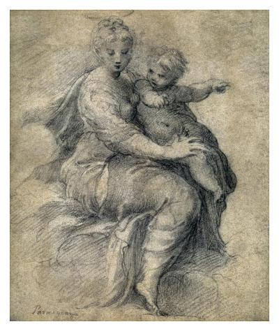 Madonna and Child on the Clouds-Parmigianino-Art Print