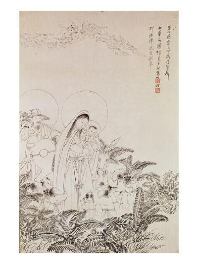 Madonna and Child (Pen and Ink on Paper)-Chinese-Giclee Print