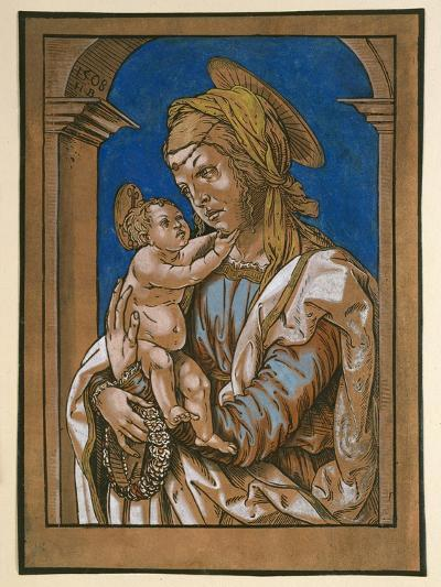 Madonna and Child under an Arch, 1508 (Woodcut, Overworked with Watercolour and Bodycolour)-Hans Burgkmair-Giclee Print