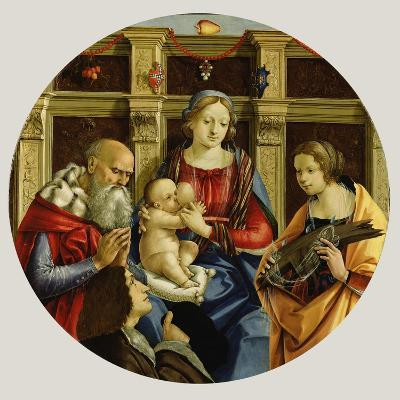 Madonna and Child with a Male Saint, Catherine of Alexandria and a Donor, c.1500-Michelangelo di Pietro Membrini-Giclee Print