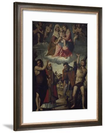 Madonna and Child with Saint Anne and Saints, 1528-Giovanni Francesco Nagli-Framed Giclee Print