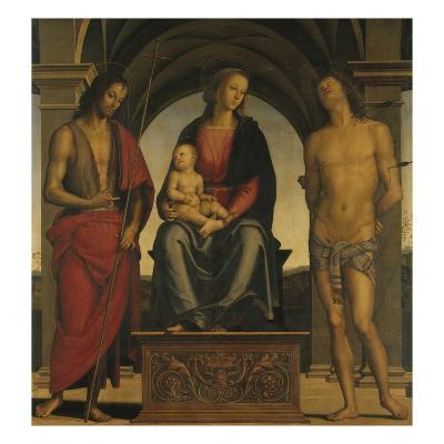 Madonna and Child with Saint John the Baptist and Saint Sebastian-Perugino-Giclee Print