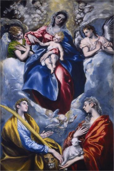 Madonna and Child with Saint Martina and Saint Agnes, 1597-1599-El Greco-Giclee Print