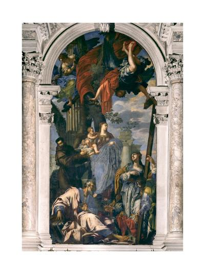 Madonna and Child with Saints Francis, Thomas the Apostle and Helen, 1640-Francesco Ruschi-Giclee Print