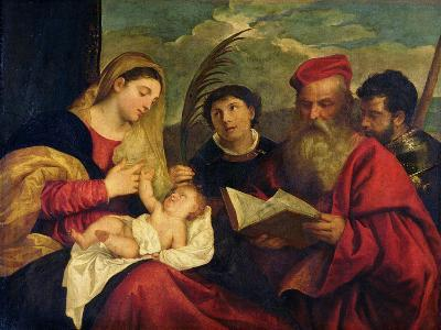 Madonna and Child with Ss. Stephen, Jerome and Maurice-Titian (Tiziano Vecelli)-Giclee Print