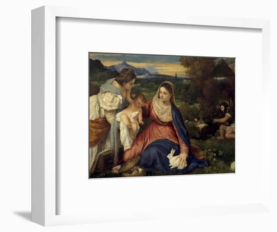 Madonna and Child with St. Catherine, (The Virgin with the Rabbit)-Titian (Tiziano Vecelli)-Framed Giclee Print