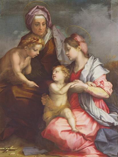 Madonna and Child with St. Elizabeth and the Infant St. John the Baptist (Panel)-Andrea del Sarto-Giclee Print