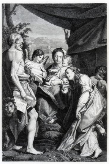 Madonna and Child with St Jerome and Mary Magdalen, 1525-1528- Fontana-Giclee Print