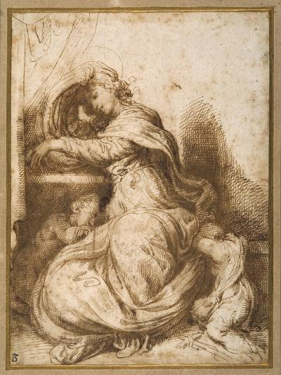 Madonna and Child with St John, All Asleep-Agostino Carracci-Giclee Print