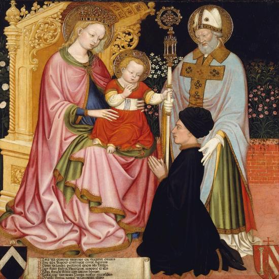 Madonna and Child with the Donor, Pietro de' Lardi, Presented by Saint Nicholas, c.1420-30- Master GZ-Giclee Print