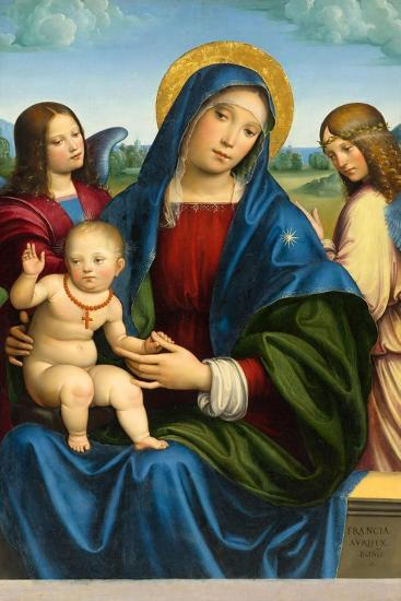 Madonna and Child with Two Angels, c.1495-1500-Il Francia-Giclee Print