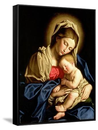 Madonna and Child-Giovanni Battista Salvi da Sassoferrato-Framed Canvas Print