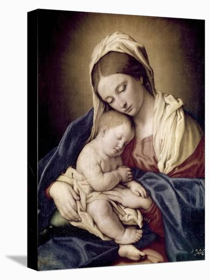 Madonna and Child-Giovanni Battista Salvi da Sassoferrato-Stretched Canvas Print