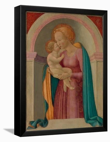 Madonna and Child- Master of the Lanckoronski Annunciation-Framed Stretched Canvas Print
