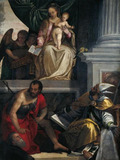 Madonna and Saints with Bevilacqua Lazise Donors-Paolo Caliari-Giclee Print