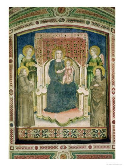 Madonna Enthroned with St. Francis of Assisi, St. Clare and Two Angels- Master Of Figline-Giclee Print