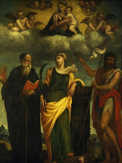 Madonna in Glory Between St John the Baptist and St Augustine-Padre Pietro Da Bagnara-Giclee Print