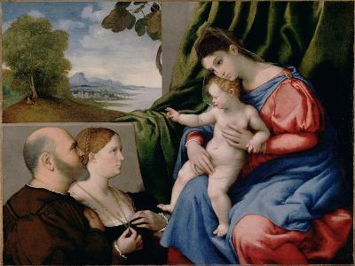 Madonna with Child and Two Donors, 1525-1530-Lorenzo Lotto-Giclee Print