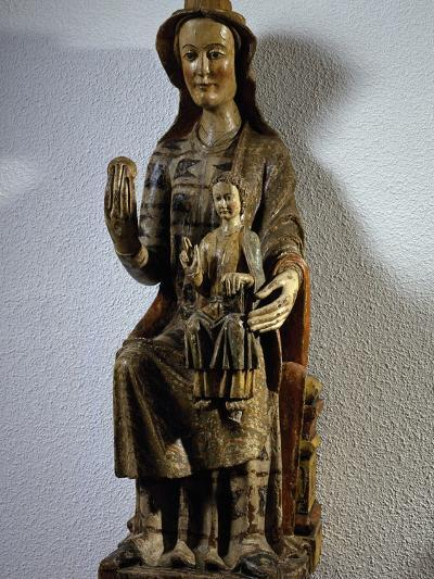Madonna with Child, Polychrome Wood Statue, Spain, 13th Century--Giclee Print