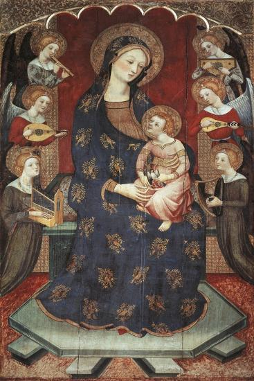 Madonna with Child with Angels Playing Music, 1390-1399-Pedro Serra-Giclee Print