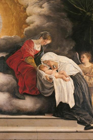 Madonna with Child with St Frances of Rome and Anm Angel-Orazio Gentileschi-Giclee Print