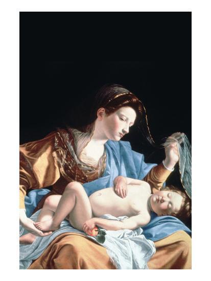 Madonna with Sleeping Christ Child-Artemisia Gentileschi-Premium Giclee Print