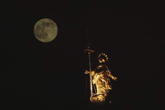 Madonnina Atop the Cathedral of Milan, Nighttime with Full Moon, Lombardy, Italy--Photographic Print