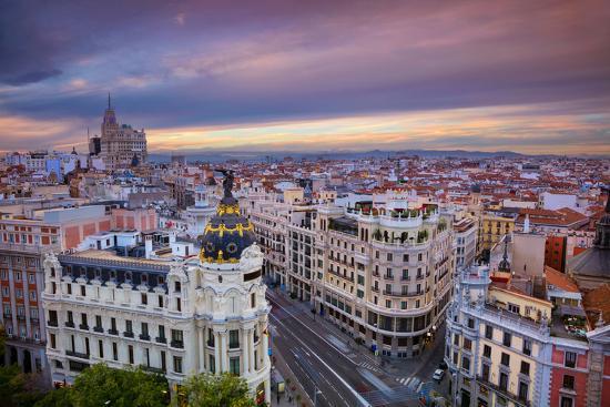 Madrid. Cityscape Image of Madrid, Spain during Sunset.-Rudy Balasko-Photographic Print