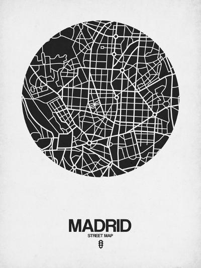 Madrid Street Map Black on White-NaxArt-Art Print