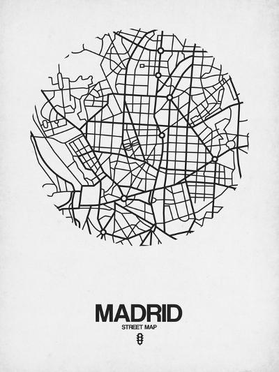 Madrid Street Map White-NaxArt-Art Print