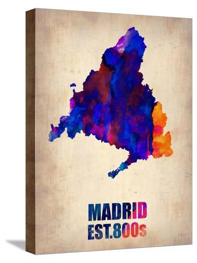 Madrid Watercolor Map-NaxArt-Stretched Canvas Print