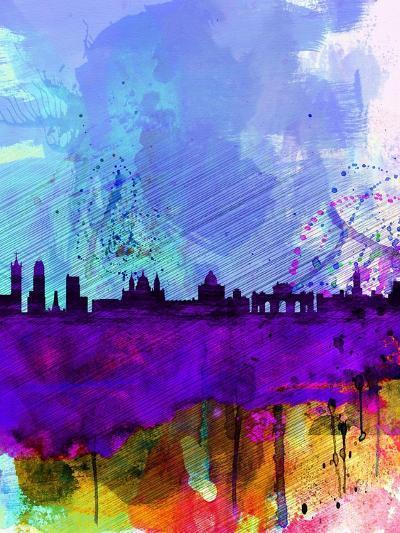 Madrid Watercolor Skyline-NaxArt-Art Print