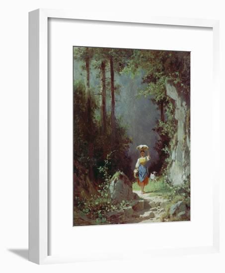 Maedchen Mit Ziege (Heimkehr Von Der Alm) Um 1858/1860-Carl Spitzweg-Framed Giclee Print