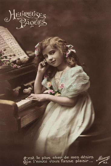 Mädchen Sitzt an Einem Klavier, Noten, Vögel--Giclee Print