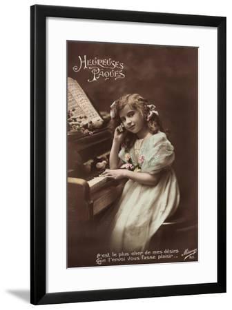 Mädchen Sitzt an Einem Klavier, Noten, Vögel--Framed Giclee Print