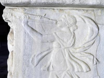 Maenad Playing Double Aulos, Relief from Roman Sarcophagus, Monumental Cemetery of Pisa--Giclee Print