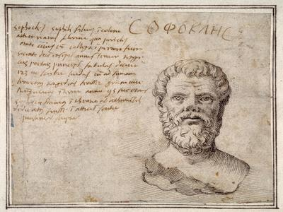 Antique Bust of Sophocles, Annotated, after Fulvio Orsini