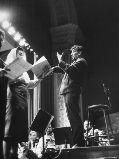 Maestro Leonard Bernstein Conducting Vocal Soloists and NY Philharmonic in Rehearsal, Carnegie Hall-Alfred Eisenstaedt-Premium Photographic Print