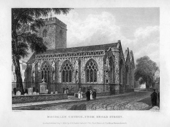 Magdalen Church, from Broad Street, Oxford, 1833-John Le Keux-Giclee Print