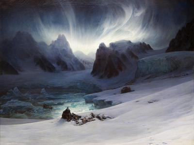 Magdalena Bay, View from Peninsula in Northern Spitsbergen with Aurora Borealis, 1841-Fran?ois-Auguste Biard-Giclee Print