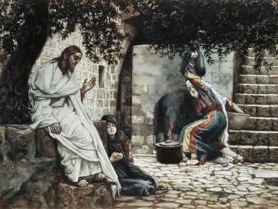 Magdalene at the Feet of Jesus-James Tissot-Giclee Print